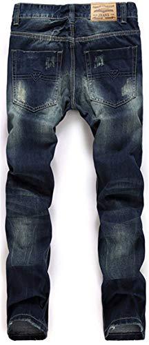 Jeans blau All'aperto Lavati Da Uomo Dritti Moda Vintage 965 Pantaloni Alla Giovane Strappati Casual x6qwXFpZ
