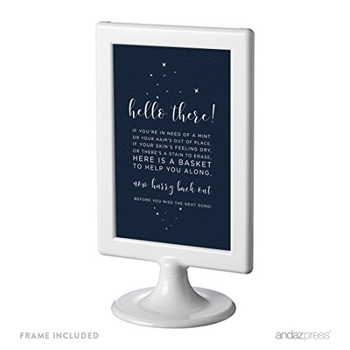 (Andaz Press Love You to the Moon and Back Wedding Collection, Framed Party Signs, Bathroom Basket Sign, 4x6-inch, 1-Pack, Includes)