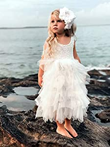 2Bunnies Girl Peony Lace Back A-Line Tiered Tutu Tulle Maxi Flower Girl Dress