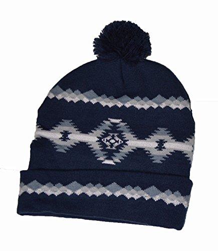 Native azul a American Indian mano Hat Pattern marrón Beanie Hecho Bobble q4gWEq