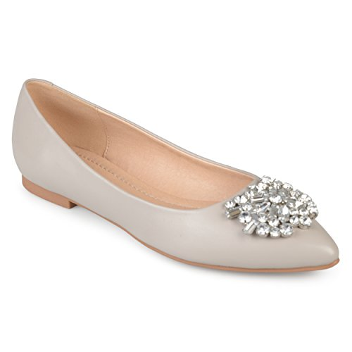 Journee Collectie Dames Spitse Neus Jewel Faux Leder Flats Grijs