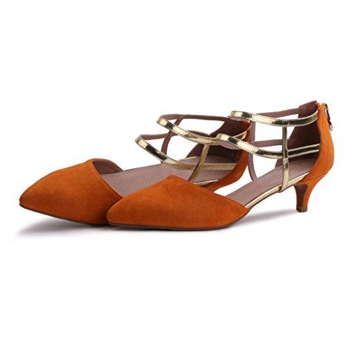 De Salvajes Las Gamuza Muchachas Las De Acentuados gao De De Abalorios Zapatos Yellow Sandalias Mujeres Moda De 5Ux6Envfq