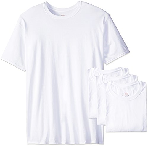 Hanes Men's Ultimate Tall Man FreshIQ Crew Neck Tee(Pack of 4),White,Large