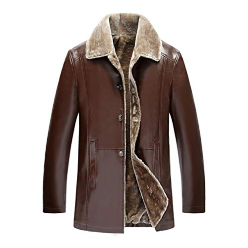 - Oudahood Winter Fur Leather Jacket Leather Jackets Brown XXL