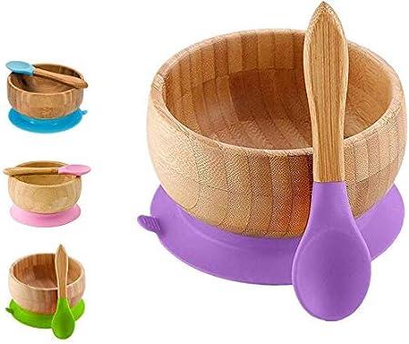 Bamb/ú natural 1# BPA Free CHAWHO Bandeja Infantil Bowl adherente Set de Bowl adherente y cuchara para beb/é en combinaci/ón
