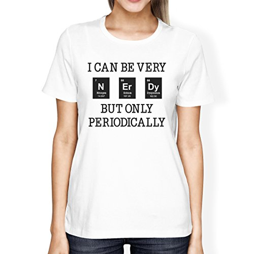 Taille White Periodically Femme Courtes Nerdy Manches Printing shirt T Unique 365 7c6vWHw