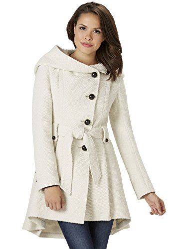 Ivory Wool Blend Jacket (Sportoli Womens Single Breasted Wool Blend Belted Winter Dress Drama Coat with Hood - Ivory (Size 2X))