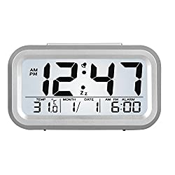HENSE Smart Backlight Alarm Clock Mute Silent LCD Electronic With Large Display And Big Numbers,Date and Temperature Display HA11 (upgraded sliver)