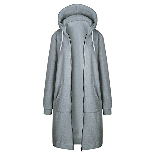 Cappuccio Lunga Cappotto Casual Donna Giacca Cardigan Parka Elegante Invernale Grigio Bainasiqi Con XC8qZOwx