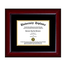 "Single Diploma Frame with Double Matting for 17"" x 11"" Tall Diploma with Mahogany 2"" Frame"