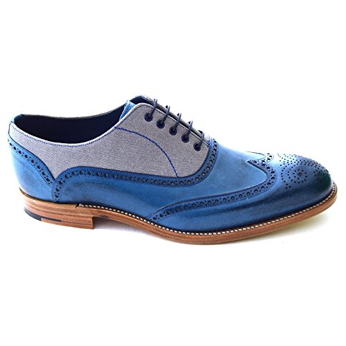Hand Canvas Painted Scarpe blue Stringate Oxford Lennon Barker Blue Uomo Grey vq1ppR0w