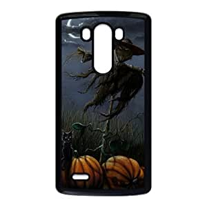 Scarecrow with Black Cat and Pumpkins Halloween LG G3 Cell Phone Case Black phone component RT_162393