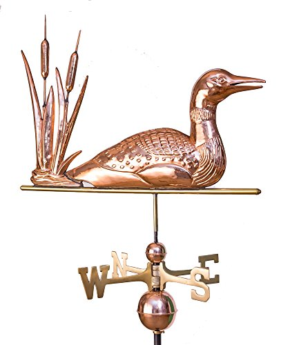 East Coast Weathervanes and Cupolas Loon and Cat Tails Weathervane Polished Copper