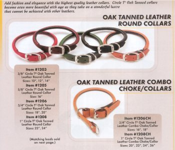 """Coastal Pet Circle T Oak-Tanned Rolled Leather Dog Collar 