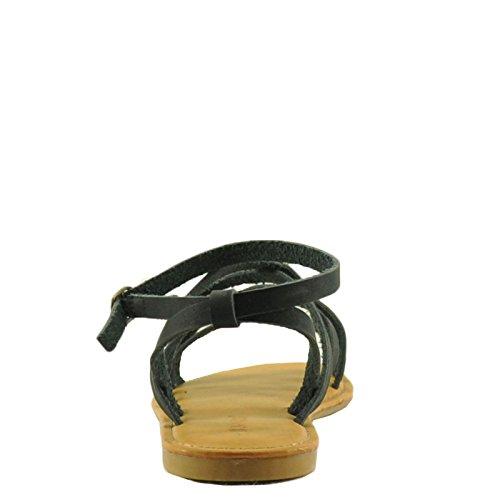 Sandali Da Spiaggia In Bambù 22s Donna Con Cinturino Aperto Nero