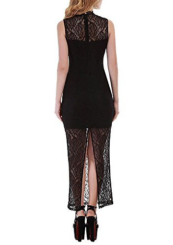 Vin Beauty Cocktail Kleid schwarz ärmelose Spitze Split lange ...