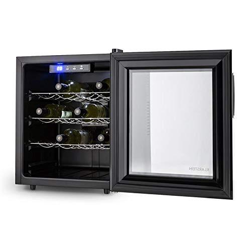 Klarstein Barolo /• Nevera para vino /• Refrigerador de bebidas /• Volumen 48L /• Capacidad 16 botellas /• Doble aislamiento /• Bandejas extra/íbles /• Iluminaci/ón LED /• Dise/ño estrecho /• Negro