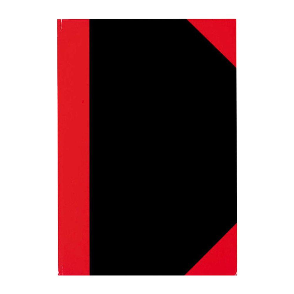 Stylex 29117-Taccuino formato A7, pagine a quadretti, copertina rigida, 192 pagine, colore: nero con rifiniture in rosso 86212507