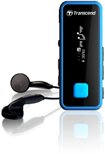 Transcend 8GB Digital Music Player and FM Radio MP350 (Black/Blue) (Player Music Transcend)