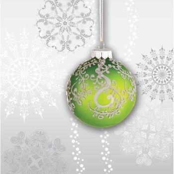 (Creative Converting 659910 18 Count Beverage Napkins, Jingle Bells, Silver/Green)