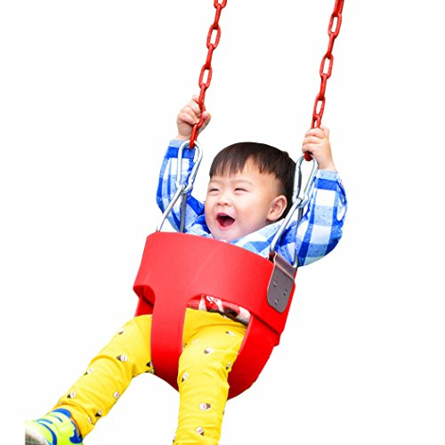 Eshion Kids Bucket Swing Seat Set Playset Foldable for Toddler Baby Garden Children's Outdoor Toys Safe and Fun (Red)