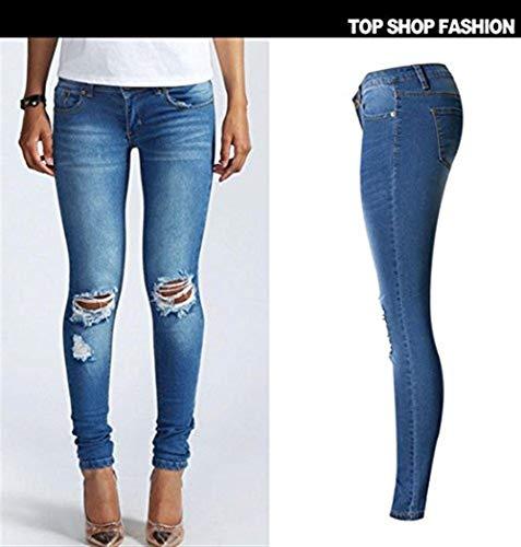 Casuales Blau De Boyfriend Denim Jole Ripped Los Distressed Hombres Alta Señoras Dchen Mujeres Washed Verano Jeans Cintura Pantalones BwAvqxT
