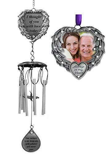 Memorial Gift - Windchime and Ornament Combo - I Thought of You With Love Today Poem Engraved on this Wind Chime - Angel Wings Wrapped Around a Heart and Teardrop Charm - In Loving Memory Chimes