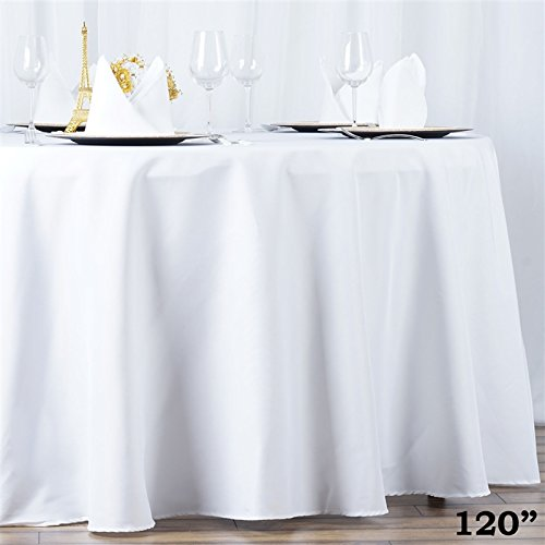 BalsaCircle 120 inch White Round Premiun Table Cloth Fabric Table Cover Linens Wedding Party Tablecloth Polyester Reception Banquet Events Kitchen Dining