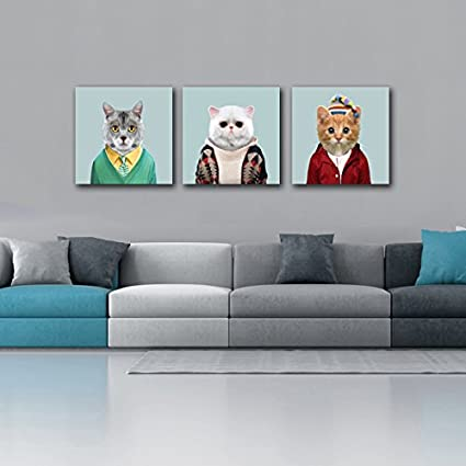 Stretched and Framed Gardenia Art Animal World Series 6 White Grey and Yellow Cats Canvas Prints Modern Wall Art Paintings Cute Cat Artwork for Room Decoration,16x16 inch
