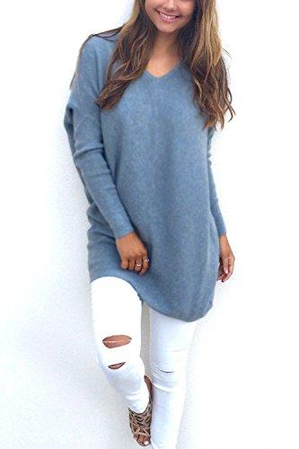 La Mujer Casual Cuello V Manga Larga Tunica Blusa Otoño - Invierno Loose Sweater Blue