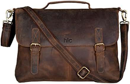 Handolederco Vintage Buffalo Leather Messenger Satchel Laptop Briefcase Men's Bag Crazy Vintage Leather Messenger Briefcase Bag