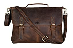 Handolederco Vintage Buffalo Leather Messenger Satchel Laptop Briefcase Men\'s Bag Crazy Vintage Leather Messenger Briefcase Bag