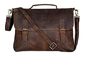 Amazon.com: Handolederco Vintage Buffalo Leather Messenger Satchel ...