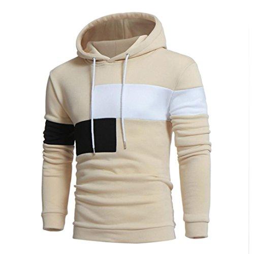 YANG-YI Hot Men Long Sleeve Hoodie Stitching Color Coat Jacket Sport Tops (M, Beige)
