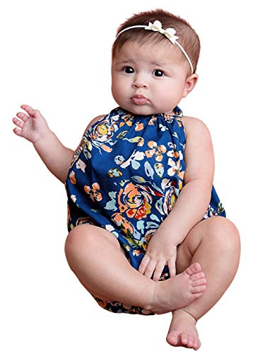 Newborn Baby Girl One Piece Swimsuit 0 3 6 9 12 Months Floral Off-The-Shoulder Swimsuit Summer Beachwear Outfit 3-6months Blue
