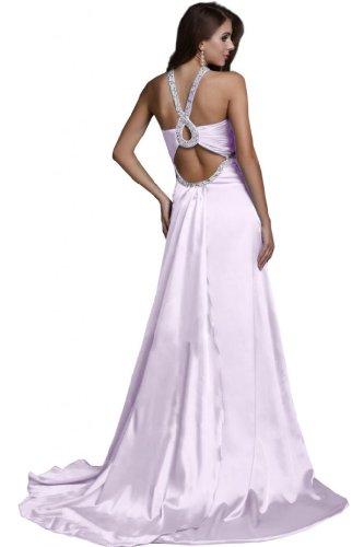 al allacciatura Viola abito dietro sera con Sunvary un satinato con lungo da perline collo qwBa4S