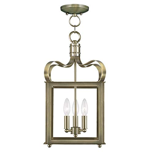 (Livex Lighting 4313-01 Garfield 3-Light Convertible Hanging Lantern/Ceiling Mount, Antique Brass)