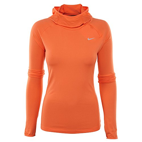 Nike Damen Element Running Hoodie, Schwarz, Mittel Rasen Orange