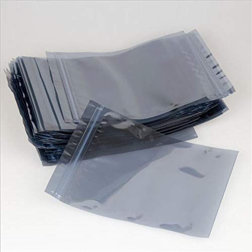 100 Pieces Resealable ESD Anti Static Shielding Bags Hard Drives Laptop RAM Memory Packaging Bags Electronic Product Devices Ziplock Packing Wraps Surface Resistance Favor Pouch (22x24cm (8.6x9.4)) ()
