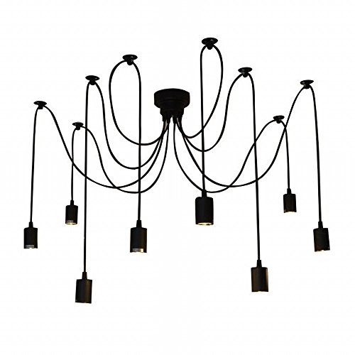 IDEARSEN Antique Classic Adjustable DIY Ceiling Spider Lamp Light, Wire Cord Drop Light Ceiling Lights Creative E27 Retro Chandelier Pendant Dining Hall Bedroom Hotel (8 arms)
