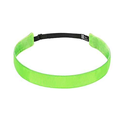 Lime Green Apparel - Bani Bands Women's Solid 7/8 Inch Adjustable Headband with Non-Slip Lining, Lime Green