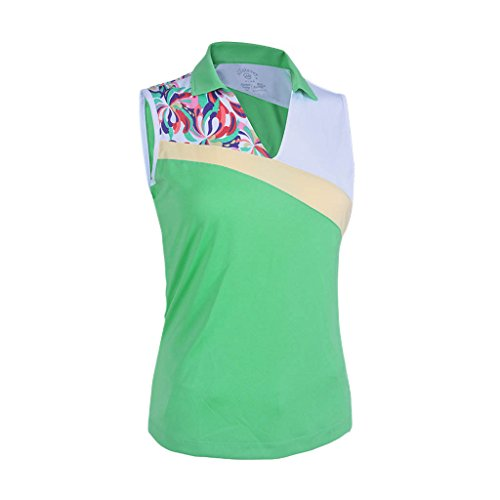 Monterey Club Ladies Dry Swing Water Fountain Contrast Coloblock Sleeveless Shirt #2345 (Spring Bud/White, X-Large)
