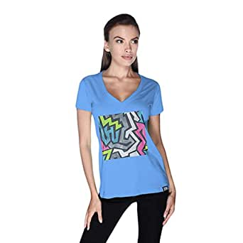 Creo Abstract 01 Retro Printed T-Shirt For Women - S, Blue