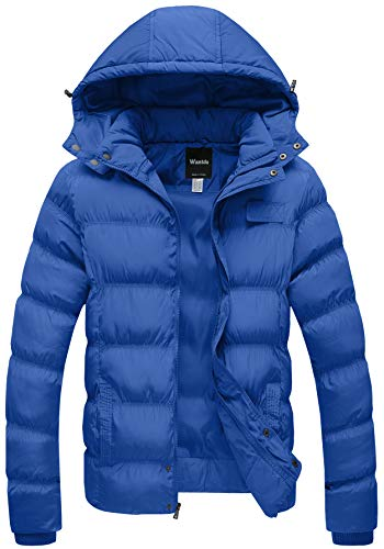 Wantdo Men's Winter Thicken Cotton Coat Puffer Jacket with Removable Hood US X-Large Blue