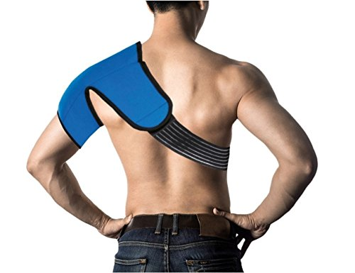Hot/Cold Therapy SHOULDER Wrap - CE CERTIFIED & FDA APPROVED + 100% MONEY BACK GUARANTEE. Relieve Pain & Soreness + Decrease Swelling! Larger Coverage Area PLUS Convenient Adjustable Wrap!