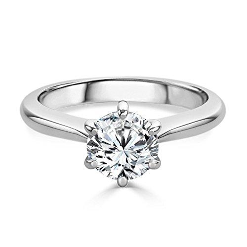 2.00 Ct Round Cut Moissanite Diamond Engagement Ring 14K White Gold Diamond...
