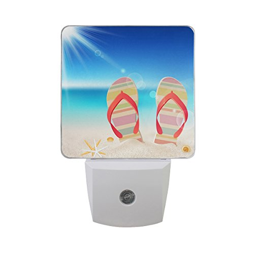 (Naanle Set of 2 Colorful Flip Flop Starfish Seashells On Beach Tropical Summer Blue Ocean Sky with Bright Sunshine Auto Sensor LED Dusk to Dawn Night Light Plug in Indoor for Adults )