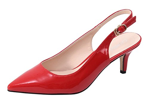 Women Slingback Sandals Closed Pointed Toe Mules Mid Heeled Ankle Strappy Buckled Shoes Red Patent Size US8.5 EU40