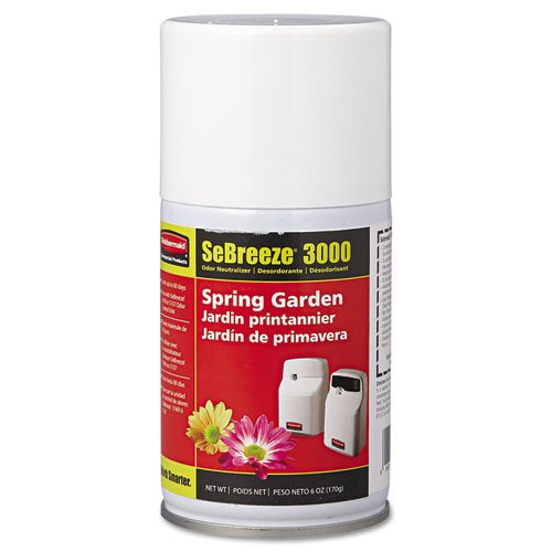 Rubbermaid Commercial SeBreeze 3000 Series Odor Neutralizer, Spring Garden, 5.3 oz Aerosol - 12 canisters.