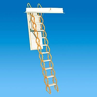 "Rainbow M2254H 22-1/2""L x 54""W Prestige Telescoping Attic Ladder / Stair: 9'10""H - 11'6""H - ORANGE"
